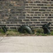 Moat Dragon - Roaring 3 Peices - Fiberglass - Outdoor Statue