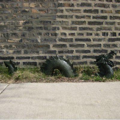Moat Dragon - Roaring 3 Peices - Fiberglass - Outdoor Statue -  - F9605