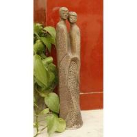 Modern Couple 18in. Fiber Stone Resin Indoor/Outdoor Garden Statue