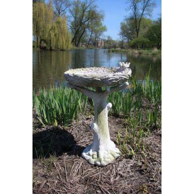 Nature s Birdbath w/Birds - Fiber Stone Resin - Indoor/Outdoor Statue -  - FS8636