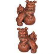 Oriental Foo Dog Pair - 10in. - Fiberglass - Outdoor Statue
