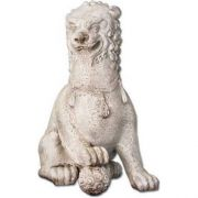 Oriental Foo Dog w/Right Paw Up 35in. High - Stone - Statue
