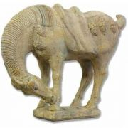 Oriental Horse 17in. - Fiberglass Resin - Indoor/Outdoor Garden Statue