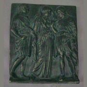 Orpheus, Eurydice / Hermes 9x8in. Fiberglass Plaque Sculpture