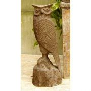Owl Carved 18in. - Fiber Stone Resin - Indoor/Outdoor Garden Statue