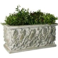 Parthenon Pot 15in. (Rectangle) - Fiber Stone Resin - Outdoor Statue