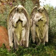 Prayer Of Angel Set 18in. High - Fiber Stone Resin - Outdoor Statue