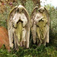 Prayer Of Angel Set 18in. High - Fiber Stone Resin - Outdoor Statue