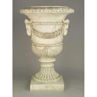 Ram And Garland Urn 31in. Fiberglass Indoor/Outdoor Statue
