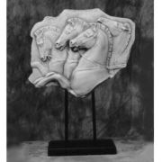 Rearing Horses 12in. High On Stand - Fiberglass Resin - Statue