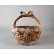 Ribbon Basket 12in. High Fiber Stone Resin Indoor/Outdoor Statue