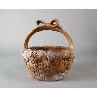 Ribbon Basket 12in. High Fiber Stone Resin Indoor/Outdoor Statue