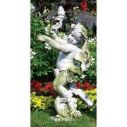 Rococo Angel Torch - Left 43in. - Fiber Stone Resin - Outdoor Statue