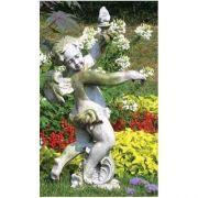 Rococo Angel Torch - Right - Fiber Stone Resin - Indoor/Outdoor Statue