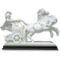 Roman Chariot 6in. High - Carrara Marble Indoor/Outdoor Garden Statue