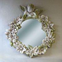 Round Cherub Mirror Frame 30in. Fiber Stone Resin In/Outdoor Statue