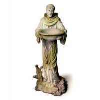 Saint Francis w/Bowl Fiber Stone Resin Indoor/Outdoor Garden Statue