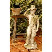 Scout 18in. - Fiber Stone Resin - Indoor/Outdoor Statue/Sculpture