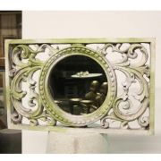 Scroll Work Frame w/Mirror - Fiber Stone Resin - Indoor/Outdoor Statue