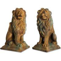 Sitting Lion Set 24in. - Fiber Stone Resin - Indoor/Outdoor Statue