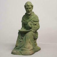 Sitting Saint Francis w/Rabbit Fiber Stone Resin In/Outdoor Statue