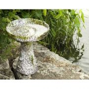 Stone And Flower Birdbath 22in. Fiberglass Resin In/Outdoor Statue