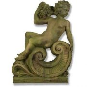 Summer Angel Cherub On Scroll 36in. Fiber Stone In/Outdoor Statue