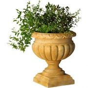 Tall Fluted Round Urn 21in. High - Fiber Stone Resin - Outdoor Statue