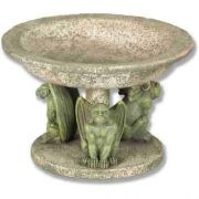 Three Gargoyle Urn Large 4.5in. - Fiber Stone Resin - Outdoor Statue
