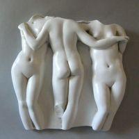 Three Graces Frieze 15in. - Fiberglass - Indoor/Outdoor Statue