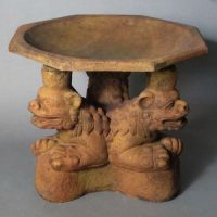 Three Oriental Foo Dogs Birdbath Fiber Stone Resin In/Outdoor Statue