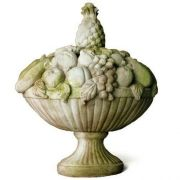 Tropical Basket - Fiber Stone Resin - Indoor/Outdoor Statue/Sculpture