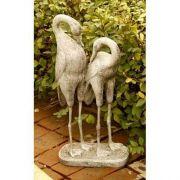 Two Storks 27in. - Fiber Stone Resin - Indoor/Outdoor Garden Statue