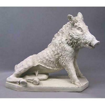Wild Boar By Pietro Tacca 21in. - Carrara Marble Indoor/Outdoor Statue -  - F68853