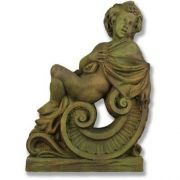 Winter Angel On Scroll 36in. Fiber Stone Resin Indoor/Outdoor Statue