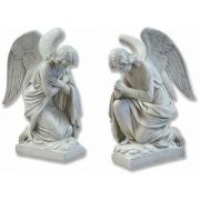 "Kneeling Angel Set 28"" - Fiberglass Indoor/Outdoor Garden Statue"