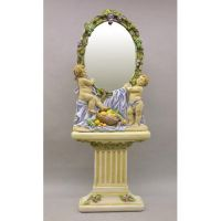 Cherub Mirror & Pedestal Fiberglass Indoor/Outdoor Garden