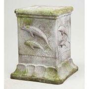 Dolphin Square Pedestal 20in. Fiberglass Indoor/Outdoor Garden