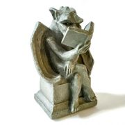 Dragon with Book Fiber Stone Resin Indoor/Outdoor Statuary