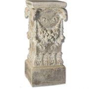 Goat Head Pedestal Fiber Stone Resin Indoor/Outdoor Statuary