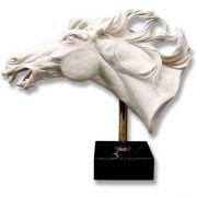 Horse's Head/Flo 15in. High  Carrara Marble Garden Statuary