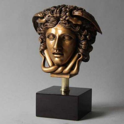 Medusa Head Gold On Base Fiberglass Indoor/Outdoor Statue -  - F7429BRG
