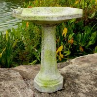 Octagonal Two Bird Bath Fiber Stone Resin Indoor/Outdoor Statuary