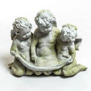 Three Cherub Birdfeeder Fiber Stone Resin Indoor/Outdoor Statuary