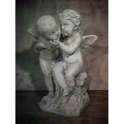 Two Cherubs Playing 21in. High  Fiberglass Indoor/Outdoor Garden