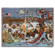 Small Town Christmas Blanket by Artist Charles Wysocki 70x54 inch