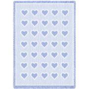 Basketweave Hearts Carolina Natural Small Blanket 48x35 inch