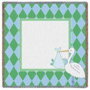 Stork Diamond Green Small Blanket 53x53 inch