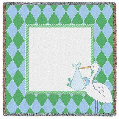 Stork Diamond Green Small Blanket 53x53 inch - 666576703280 - 6569-LS