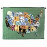 USA Tags Small Wall Tapestry 34x26 inch